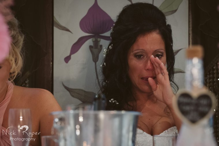 Bride crying at speeches
