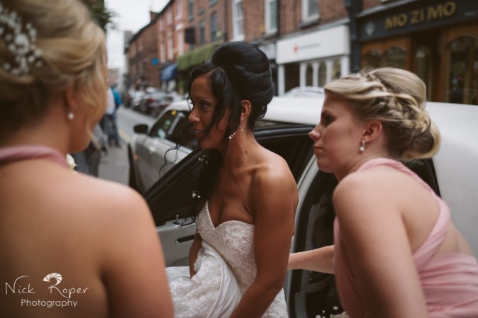 Bride's stepping out of the limo